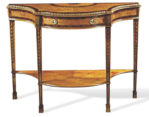 Birdseye Maple Console Table with Rosewood Banding and Marquetry Inlay One Center Drawer with Brass Ring Pulls