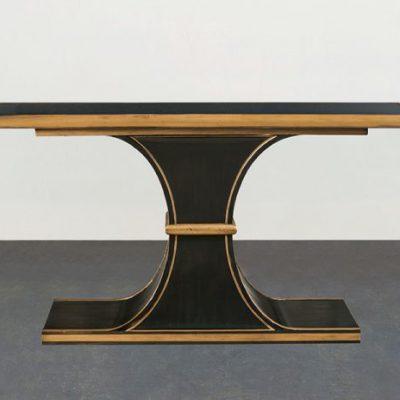Black Smoke Glass Top Console  Table