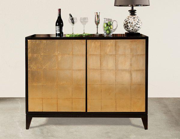 Black with Gold Leaf Bar Cabinet - staged