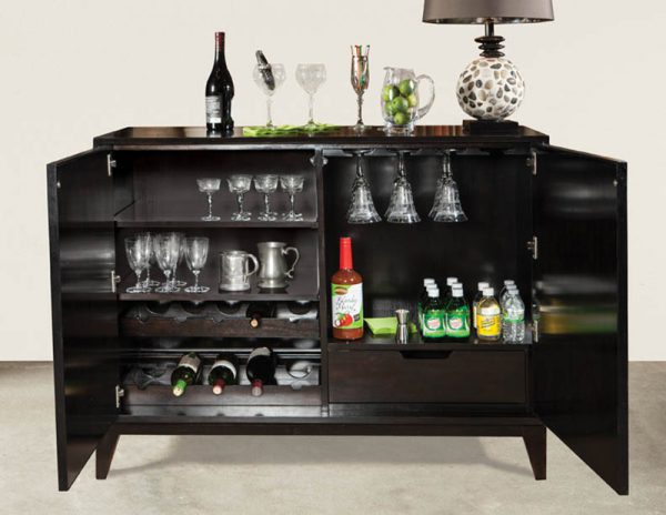 Black w/ Gold Leaf Bar Cabinet