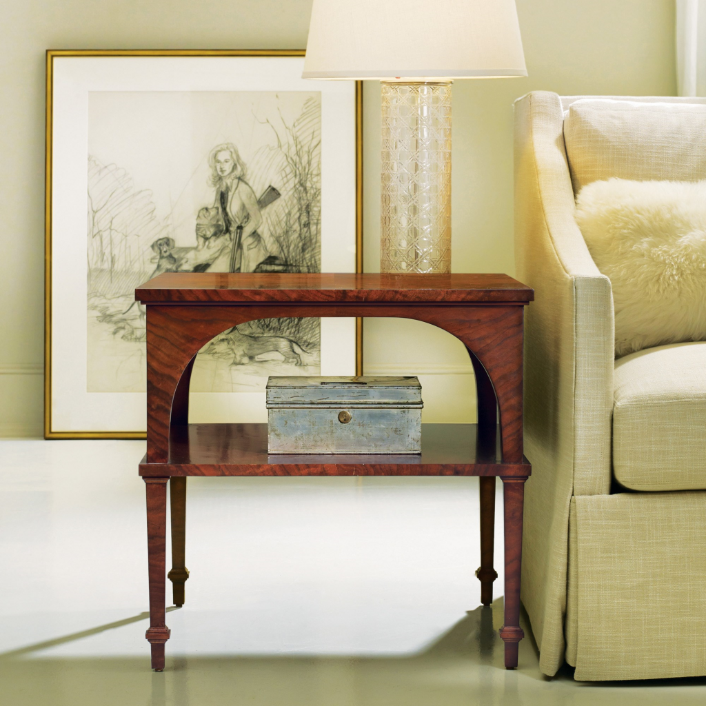 Classical End Table With Shelf, Walnut - Staged