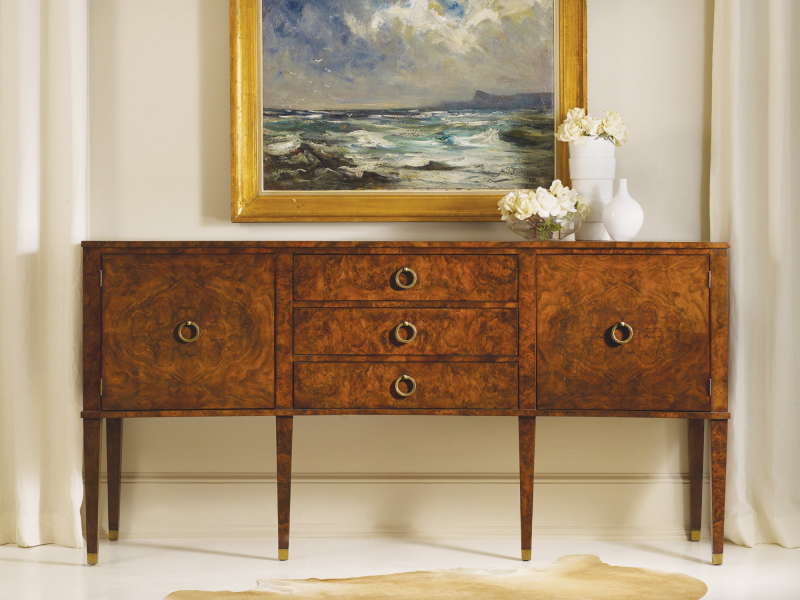 Concave Walnut Inlay Buffet - Staged