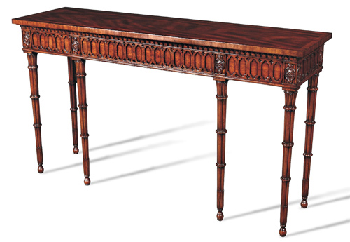 Crotch Mahogany Console Table