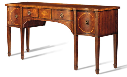 Crotch Mahogany and Movingue Circle Inlay Sideboard with brass handles