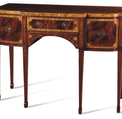 Crotch Mahogany and Movingue Marquetry Fans Sideboard