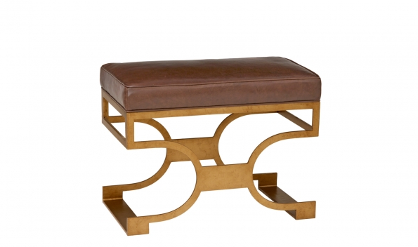 Domingo Bench - Brass Finish, Brown Seat