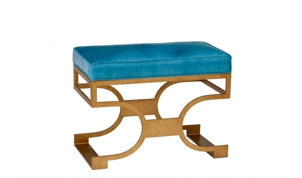 Domingo Bench - Brass Finish, Teal Seat