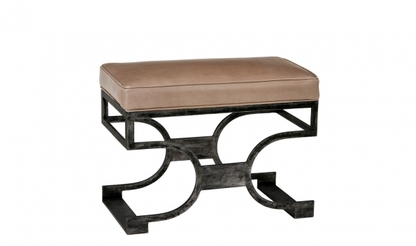 Domingo Bench - Black Brushed Finish with tan seat