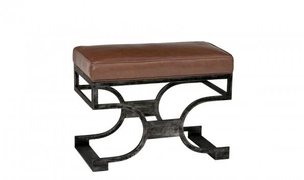 Domingo Bench - Black Brushed Finish, Brown Seat