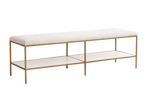 Emerson Bench - Gold Finish Metal, White seat