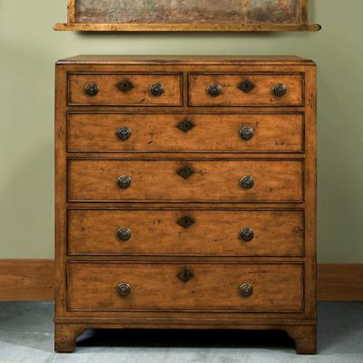 English 6 Draw Flush Top Mahogany Chest
