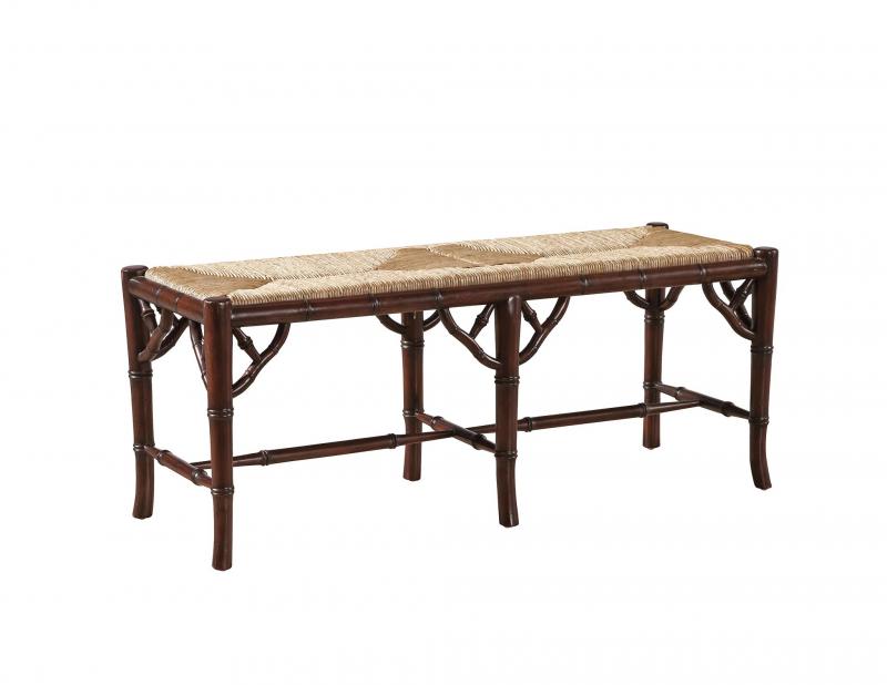 Faux Bamboo Bench-Mahogany, woven seat