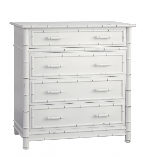 Faux Bamboo Dresser White