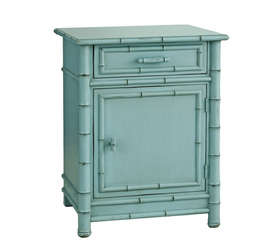 Faux Bamboo Nightstand-Teal