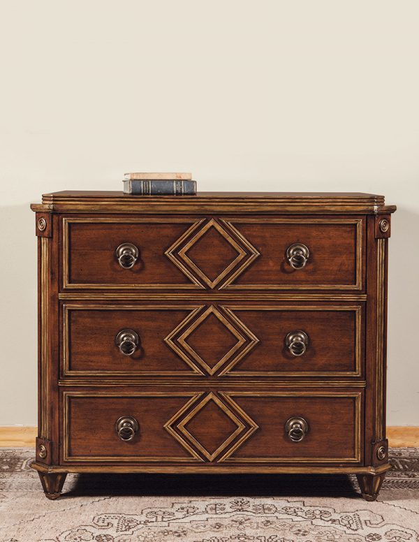 French Chest in Mahogany w/ Gilded Molding