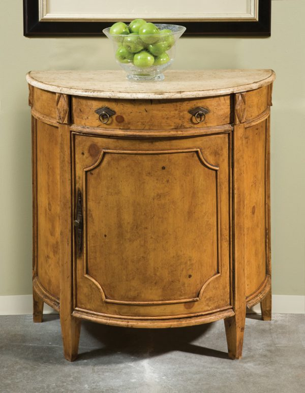 French Olde Timber Demilune with marble top