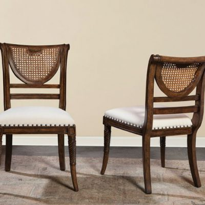 Italian Cane Back Side Chair – Walnut