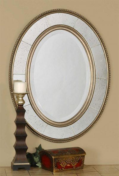 Lara Oval Champagne Mirror - Staged