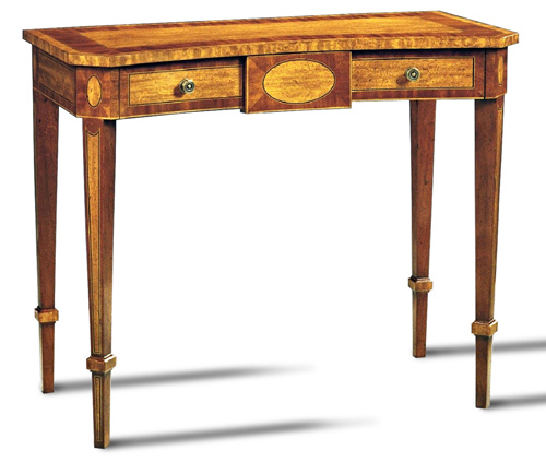 Movingue and Mahogany Console Table with Brass Knobs