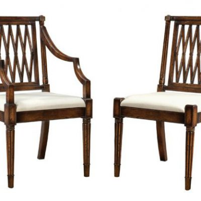 Oak Trellis Back Side & Arm Chairs