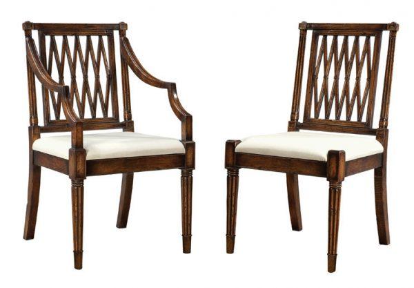 Oak Trellis Back Side Chair