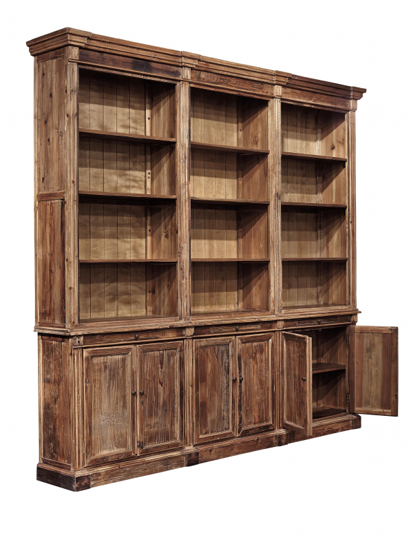 Old Fir Grand Bookcase - Open View