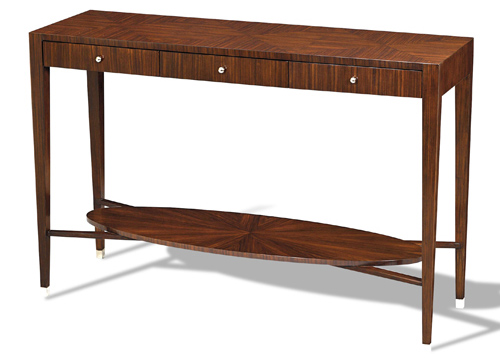 Rosewood Veneer Console Table with Nickel Plated Brass Accents