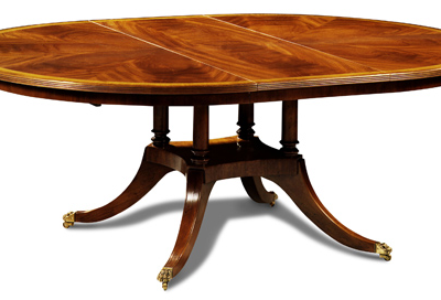 Round Oval Inlay Dining Table