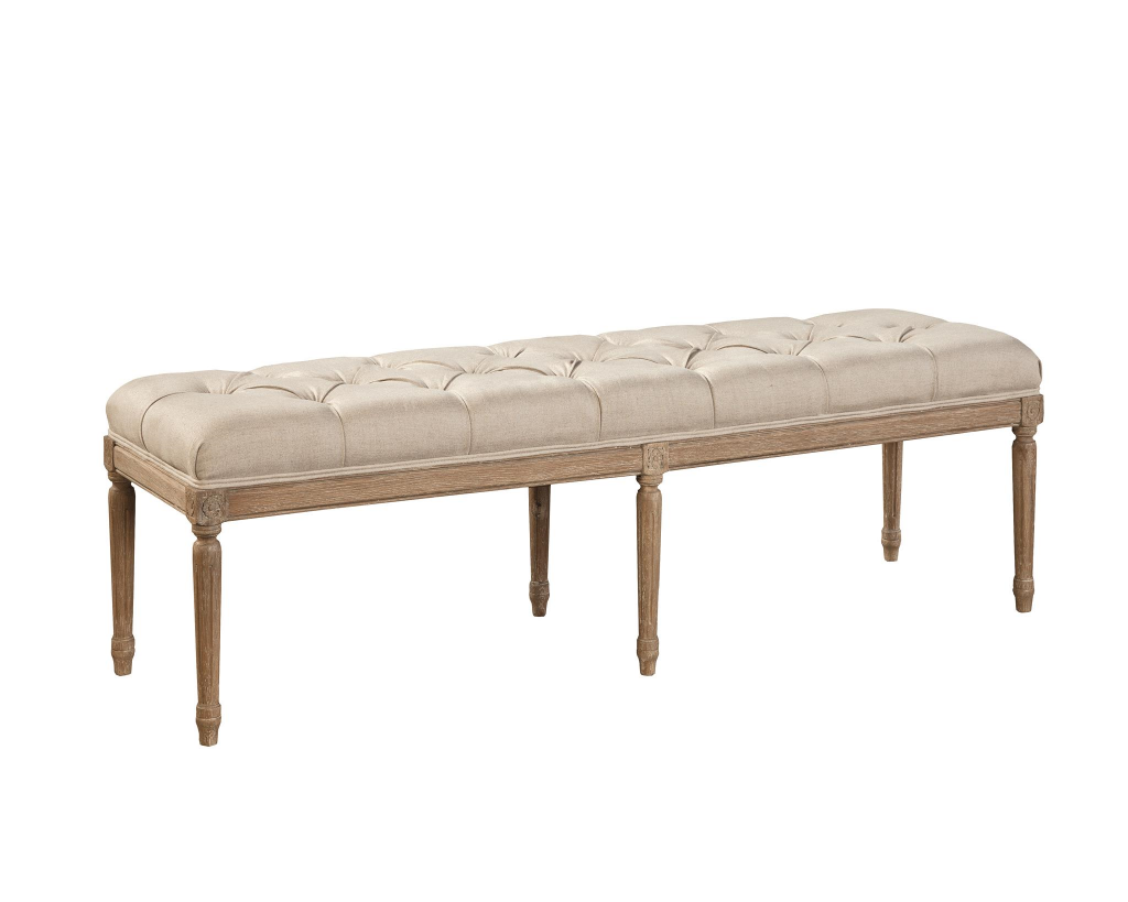 Tufted Oak and Linen Bench