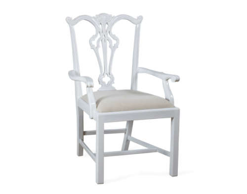 Arm Chair, White - Side view
