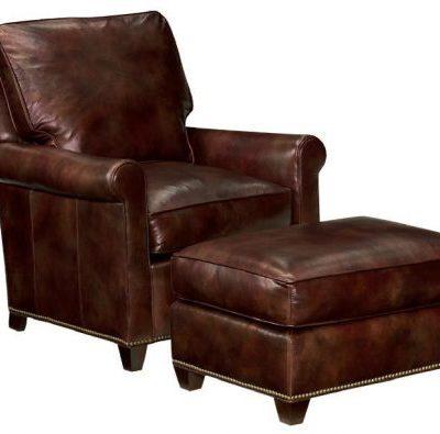 Block Leg Leather Ottoman