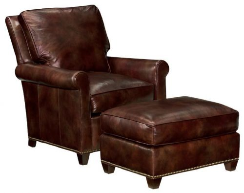 Block Leg Leather Chair and Ottoman