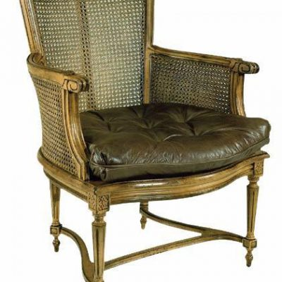 Cane Back Leather Seat Chair