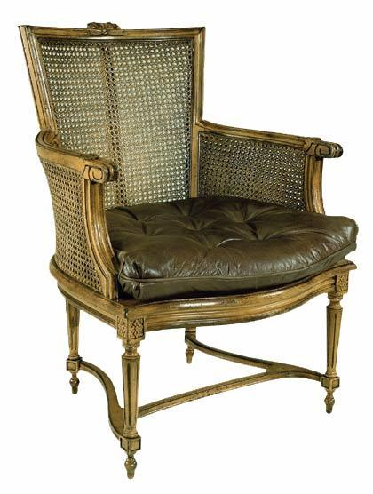 Cane-Back-Leather-Seat Chair
