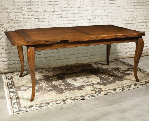 French Cherry Draw Leaf Table - Staged