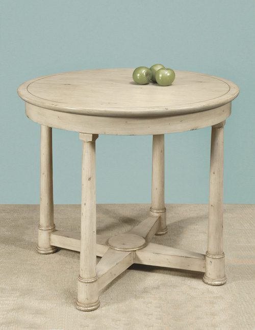 French Circular Table, Antique Linen Wood Top