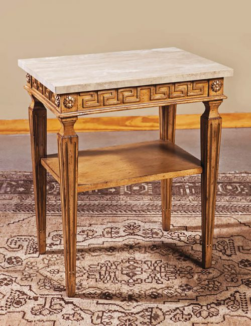 Italian Side Table with Marble Top - Staged