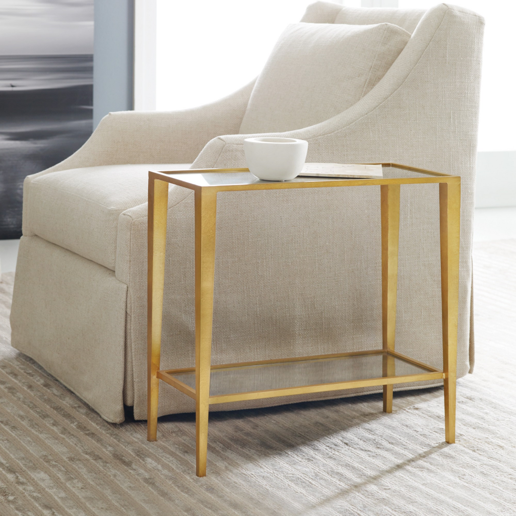 Gilt Chairside Table - Large - staged
