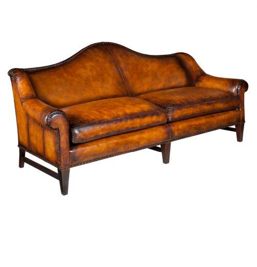 Leather Camel-Back Sofa