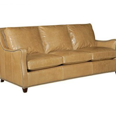 Leather Modern Scroll-Arm Sofa