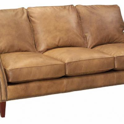 Leather Scroll-Arm Sofa