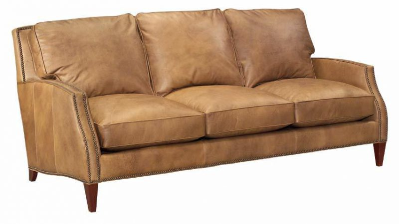 Leather Scroll-Arm Sofa with Nail head trim