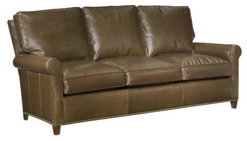 Leather Tack-Bottom Sofa