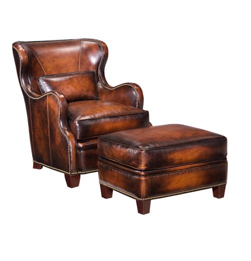 Leather Wing Chair and Ottoman