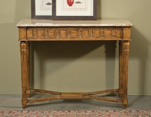 Louis XVI Console with Marble in Olde Timber - Staged
