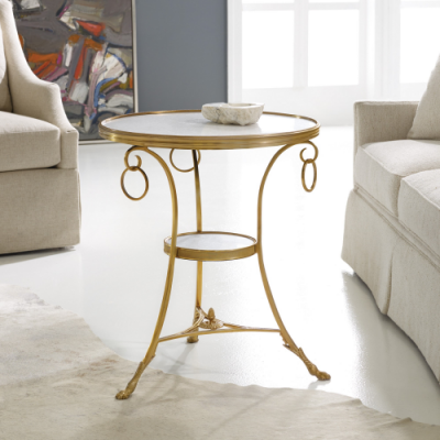 Marble & Brass Gueridon Table