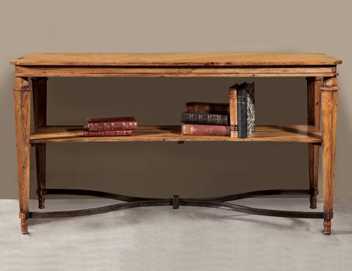 Olde Pine Console with Iron Stretcher - Staged
