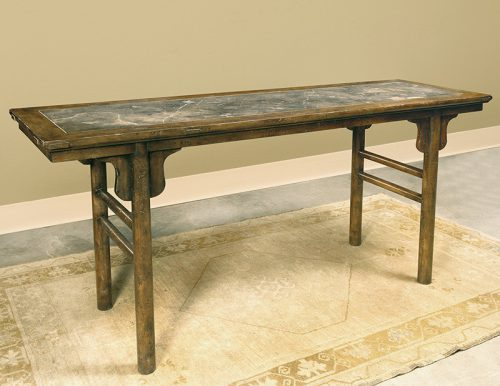 Oriental Altar Table in French Walnut with Marble Top - Staged