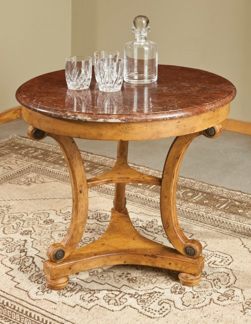 Marble-Top Regency Table in Olde Timber - staged