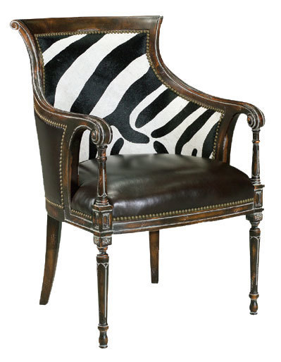 Zebra Back Leather Arm Chair